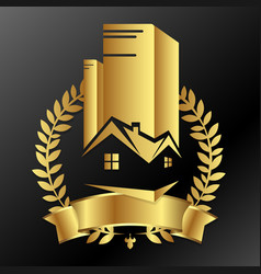 Real estate business golden design vector