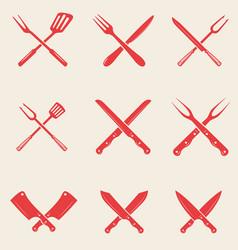 set of restaurant knives icons crossed fork vector image