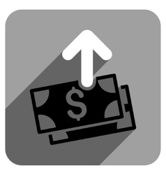 Spend money flat square icon with long shadow vector