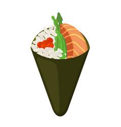 temaki food raw fish caviar rice nori in sushi vector image vector image