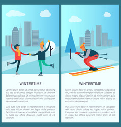 wintertime skaters and skier vector image vector image