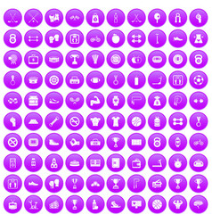 100 boxing icons set purple vector image vector image