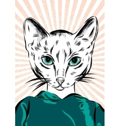 Cat girl dressed up in sport wear animal vector