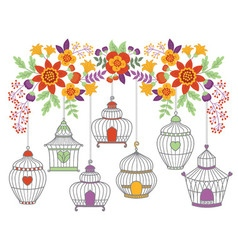 Autumn Flowers With Bird Cages vector image