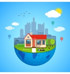 Urban home earth concept vector