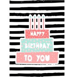 Birthday cake greeting card design vector