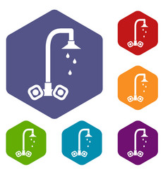 dripping tap icons set vector image