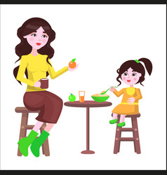 Mother and her daughter sit at the table and eat vector