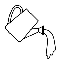 Sketch silhouette watering can spilling water vector