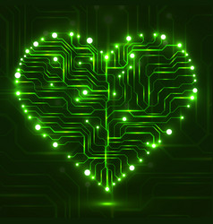 eletronic circut board in shape of heart vector image