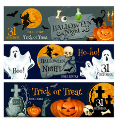 Halloween holiday spooky ghost and pumpkin banner vector