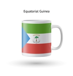 Equatorial guinea flag souvenir mug on white vector