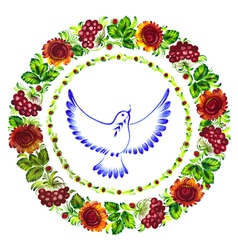 Pigeon peace decorative circlet of flowers vector