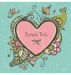 Floral doodle frame in the shape of heart vector image