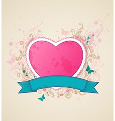 Decorative background with pink heart vector