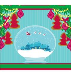 Santa claus in a glass ball vector