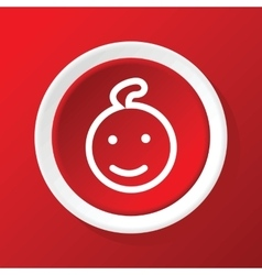 Smiling child icon on red vector