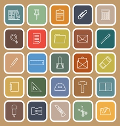 Stationery line flat icons on brown background vector