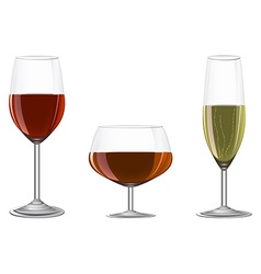 Glasses of wine champagne cognac on metal stand vector