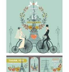 Wedding invitationbridegroomretro bikeeiffel vector
