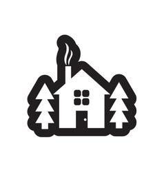 Flat icon in black and white style house forest vector