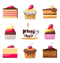 Set of delicious biscuits yummy cupcakes donuts vector