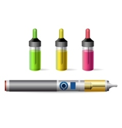 Vapor e-cigarette and vaping juice bottle vector