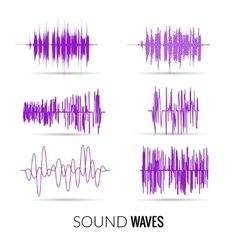 Lilac sound waves set audio equalizer vector