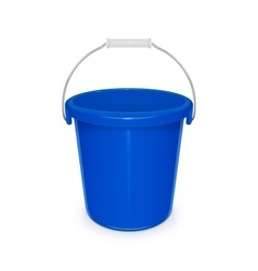 Blue plastic empty bucket with vector image