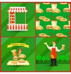 Cards collection of street fast food elements vector image