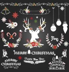 Chalkboard christmas flowersdeerrustic christmas vector