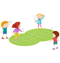 Children playing hopscoth together vector image vector image