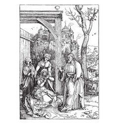 Christ taking leave of his mother depicts jesus vector