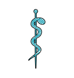 Color pencil drawing of health symbol with serpent vector