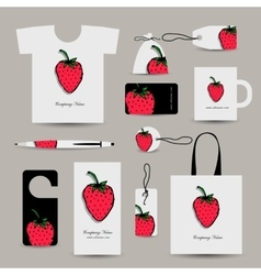 Corporate business cards strawberry design vector