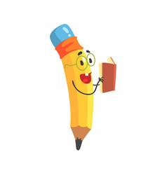 cute cartoon yellow pencil character reading a vector image