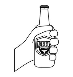 Figure bottles of beer in the hand icon design vector