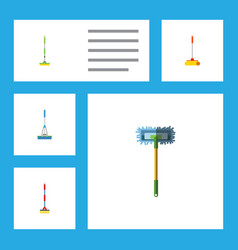 Flat icon mop set of cleaner sweep equipment and vector