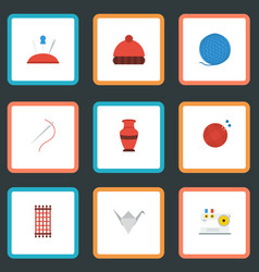 Flat icons paper figure beanie skein and other vector