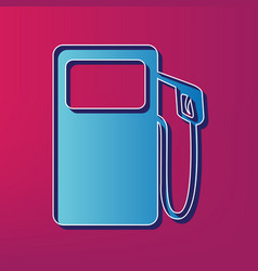 Gas pump sign blue 3d printed icon on vector