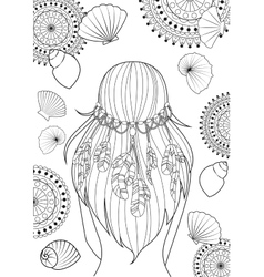 Girl with feathers on her heads and shells vector image