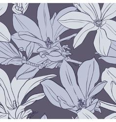 Gray vintage magnolia seamless pattern vector image vector image