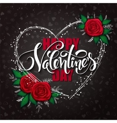 Happy valentines day lettering with heart vector