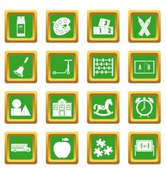 Kindergarten symbol icons set green vector