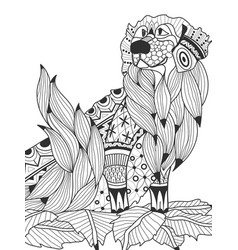 Labrador retriever in the leaves coloring book for vector