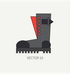 Line flat color icon wear - ankle boots vector