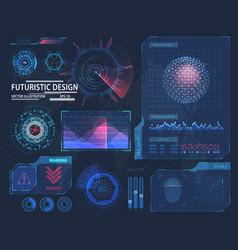 Molecule hologram and futuristic hud elements vector