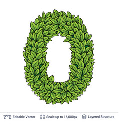 Number symbol of green leaves vector