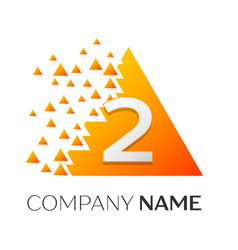 number two symbol on colorful triangle vector image vector image
