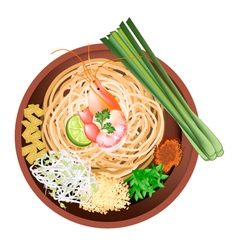 Pad Thai or Stir Fried Noodles with Prawn vector image vector image
